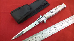 Wholesale 9 quot Italia Stiletto Knife Silver Bloster inches AKC bayonet polish mirror blade nylon sheath