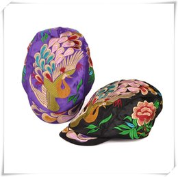 Wholesale Sun Cap China - 2016 fashion hat folk style duck tongue Hat Lady peacock China traditional handmade hat peaked cap