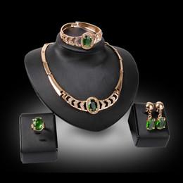 Wholesale Bracelet Collier Boucles d oreilles Bijoux Set Mode Luxe Vert Imitation Gemstone K plaqué or Bijoux Partie Piece Set Vente en gros JS183