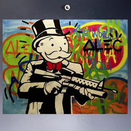 Framed HUGE-GUN,Amazing High Quality genuine Hand Painted Wall Decor Alec monopoly Graffiti Pop Art Oil Painting Canvas,Multi Size