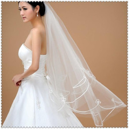 In Stock Cheap Short Wedding Veils with Ribbon Edge White Tulle Real Sample Bridal Veils For Wedding Dresses