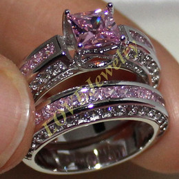 Precious Princess-cut Simulated Pink Diamond 925 Silver Engagement Wedding Band Ring Set for Women Size 6-11 Gift