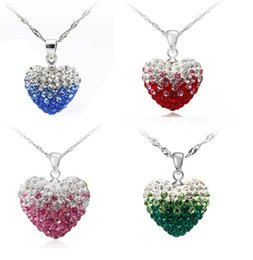 Wholesale Specializing in the production of foreign trade Shambhala Set Heart Necklace Korean jewelry Pendant Necklaces sgradient color