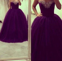 Wholesale Sexy Girls Dressed Princesses - 2016 New Real Image Princess Quinceanera Dresses Sweetheart Crystal Beads Ball Gown Tulle Grape 16 Sweet Girls Prom Party Gowns Cheap Custom
