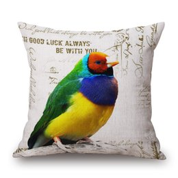 Wholesale 29 Styles Parrot Birds Cushion Cover Candy Color Feather Linen Cotton Pillow Case Pillow Cover Bedroom Sofa Chair Decoration