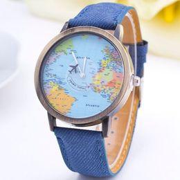 Wholesale GENEVA Brand Fashion Casual Watch Women Wristwatch Men Personality World Map Airplane Pattern Fabric Leather Quartz Watch Relogio Clock