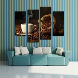 Wholesale 4 Picture Combination Brown A Cup Of Coffee And Coffee Bean Wall Art Painting The Picture Print On Canvas Food For Home Decor