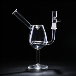 Glass Bong Glass Water Smoking Bongs Red Wineglass Cup Glass Filter Glass Pipes Original Transparent Dab Concentrate With Glass Tobacco Bowl