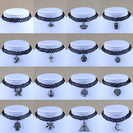 Tattoo choker necklaces for women silver charms pendant black plastic silicone strings 16 designs jewelry cheap
