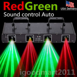 USA WTD-L-D55 Sound Control Auto 4 lens Stage Laser Light DMX-512 Red Green Club DJ Disco Party Show Lighting 260mW