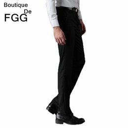 Wholesale Slim Fit Work Suit - Wholesale-Wrinkle Free Men's Fashion Clothing Wedding Party Prom Black Casual Pants Slim Fit Office Work Wear Formal Business Suit Pants