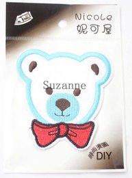 Wholesale lovely blue little bear iron on patch animated cartoon patches clothing accessories Embroidered kids girl stickers