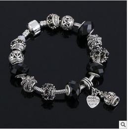 Wholesale Hot Wonderful Tibetan silver Pan box bead series DIY greased full diamond bracelet big hole diamond bracelet European charm brac