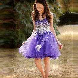 Wholesale Custom Made Beaded Stones Bat Mitzvah Dress Sleeveless Teens Sweetheart Purple Dress Ball Gown Short Tulle Prom Dresses