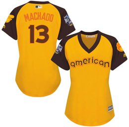 Wholesale 2016 Baseball All Star Baltimore Orioles Womens Manny Machado American Yellow Baseball Jerseys Stitched Name Number and Logos