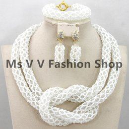 african coral beads Jewelery Set white Crystal Rhinestone Costume Bridal Indian Women Necklace Set 2 rows african beads