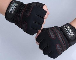 Wholesale-A34 Weight Lifting Gym Gloves Workout Wrist Wrap Sports Exercise Training Fitness gloves gym traing hard gloves