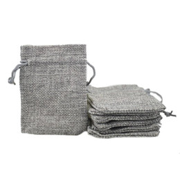 Wholesale Cheap Wholesale Jewelry Bags - 7x9cm Custom Cheap Faux Jute Drawstring Jewelry Bags Candy Beads Small Pouches Burlap Blank Linen Fabric Gift packaging bags