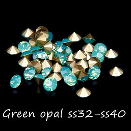288pcs Pointback Crystal Rhinestones Green Opal Gems ss32-ss40 Non Hotfix Round Glass Rhinestone Strass Beads DIY Jewelry Making