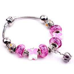 Charm Bracelets Glass & Crystal European Charm Beads Fits Charm bracelets Style Bracelets 18-20CM Bracelet for Women
