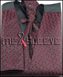 Promotion boutons de manchette de smoking Gros-Mens Suit Tuxedo robe fashion bordeaux Vest (veste + ascot + boutons de manchette + mouchoir)