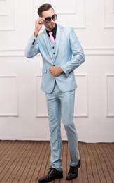 Wholesale Newest Groomsmen Baby Blue Groom Tuxedos Notch Lapel Slim Fit Men s Suit One Button Best Man Wedding Dinner Suits Jacket Pants Vest J890