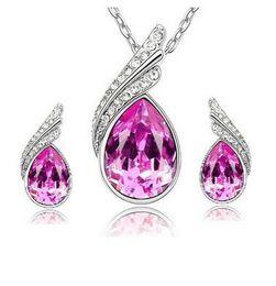 Austrian Crystal Set Korean High Grade 925 Silver Jewelry Set Necklace Earrings Drill Flash Jewelry for Women