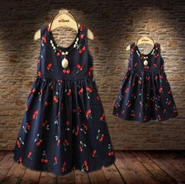 Wholesale Baby Girls Dresses Summer Matching Mother Daughter Dress Plus Size Lady Cherry Print Cotton toddler Family Clothing Family Matching Outfits