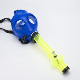 Wholesale Solid Mixed Colored Luminous Silicon Gas Mask Pipe Gas Mask Bong Color Glow In Dark Smoking Filter Silicone Oil