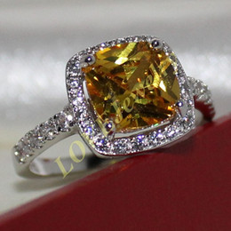 Lady's 925 Silver Cushion-cut Yellow Topaz CZ Pave Set Wedding Ring Brand Jewelry for Women