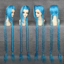 wig cosplay Ponyta Free Shipping Heat Resistant Before the lace wig >>Chrismas Cheap Fashion 100cm LOL-Jinx BLUE Cosplay Anime Wig