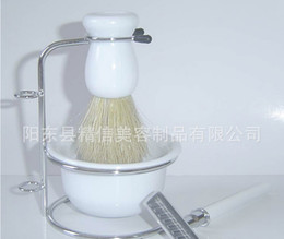Wholesale New Shaving Kit Manual razor kit aluminium handle razor bristle brush beard bubble bowl