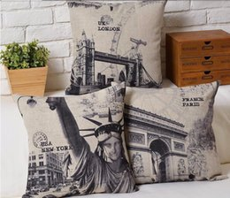 Wholesale lack Sketch New York London Paris Classical Architecture Design Beautiful Bird Cushion Neck Euro Case Cover Pillow Home Decor