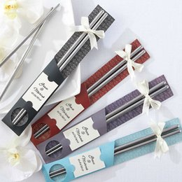 Wholesale Fedex DHL Free Pairs East Meets West Stainless steel chopsticks Chinese style wedding Wedding Function favors gifts