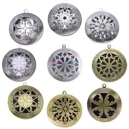 Wholesale 12 Style Antique Silver Aromatherapy Lockets Essential Oil Diffuser Hollow Necklace Locket Diffuser Lockets Perfume Lockets b071