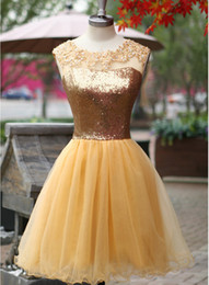 Jewel Neck Sequin Tulle Ball Gown Cocktail Dress With Open Back 2018 Knee Length Party Dress Elegant