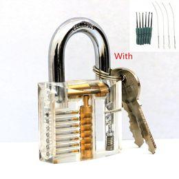 Hot sale Modern 7 pins Cutaway Practice Padlock Lock With Broken Key Removing Hooks Lock Kit Extractor Set Locksmith Tool SYG-158