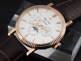 Ossna 40mm White Dial PVD Rose Gold Stainless Steel Case Moon Phase Multifunction Auto Watch Gift For Men 1613