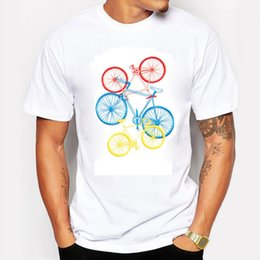 New Mens T Shirts Bicycle Distance And Time Printed 100% Cotton Casual Tee Short Sleeve Quality Customized Camisas Masculinas