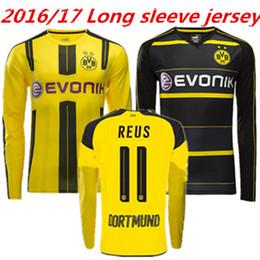Wholesale 2016 Borussia Dortmund long sleeves shirt Thailand quality REUS GOTZE KAGAWA AUBAMEYANG soccer jersey model