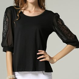Wholesale Europe and the United States set of head round collar chiffon lace T shirt unlined upper garment Monochrome multicode Support to mixed batch