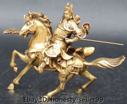 Wholesale 10 quot Chinese Bronze Ride Horse Guan Gong Yu Warrior God Guangong Hold Knife Statue
