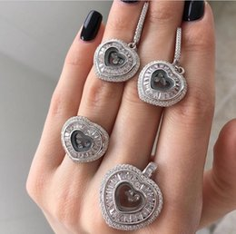 Wholesale Cz Sterling Ring 925 - Luxury brand with moving cz chopar happy heart diamond pendant Earring ring Jewelry Set For Wedding Party Evening gift 925 sterling silver
