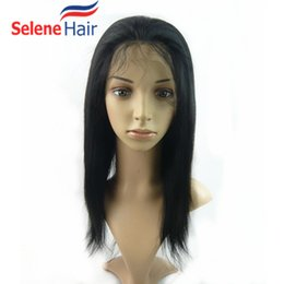 Wholesale Cheap Lace Fronts Free Shipping - Cheap Yaki Straight Full Lace Wigs Lace Frontal Wigs For Black Women Human Hair Wigs 8A Brazilian Virigin Hair Wig Free Shipping