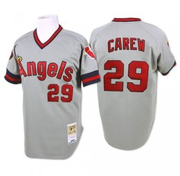 Wholesale Throwback LA Angels Rod Carew Vintage White Gray Los Angeles Angels of Anaheim Baseball Jerseys From China