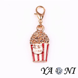 Enamel Floating Charm Alloy Popcorn Floating Locket Charm Pendant Movie Charm with Lobster Clasp for Glass Locket