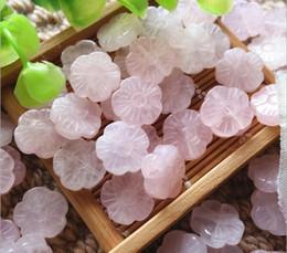 Free shipping 10 pcs Natural Rose Quartz Beads, Flower shape design, 15mm, Hole:Approx 1mm sold per bag