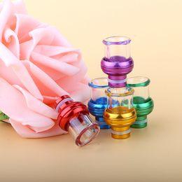 Wholesale Glass Drip Tips Thread Aluminum Round Arc Irregular Shape Pyrex Glass Mouthpiece fit RDA Atomizer DHL Free