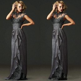 Elegant Mother of the Bride Dresses with Cap Sleeves High Neck Lace Appliques A line Chiffon Backless Bridal Mother Gowns