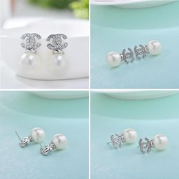 Wholesale Hot Sale New Lady Fashion Double C With Crystal Stud Earring Pearl Stud Earrings